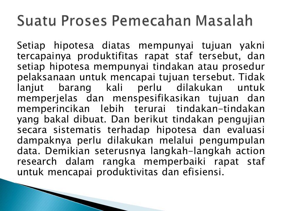 Setiap hipotesa diatas mempunyai tujuan yakni tercapainya produktifitas rapat staf tersebut, dan setiap hipotesa mempunyai tindakan atau prosedur pelaksanaan untuk mencapai tujuan tersebut.