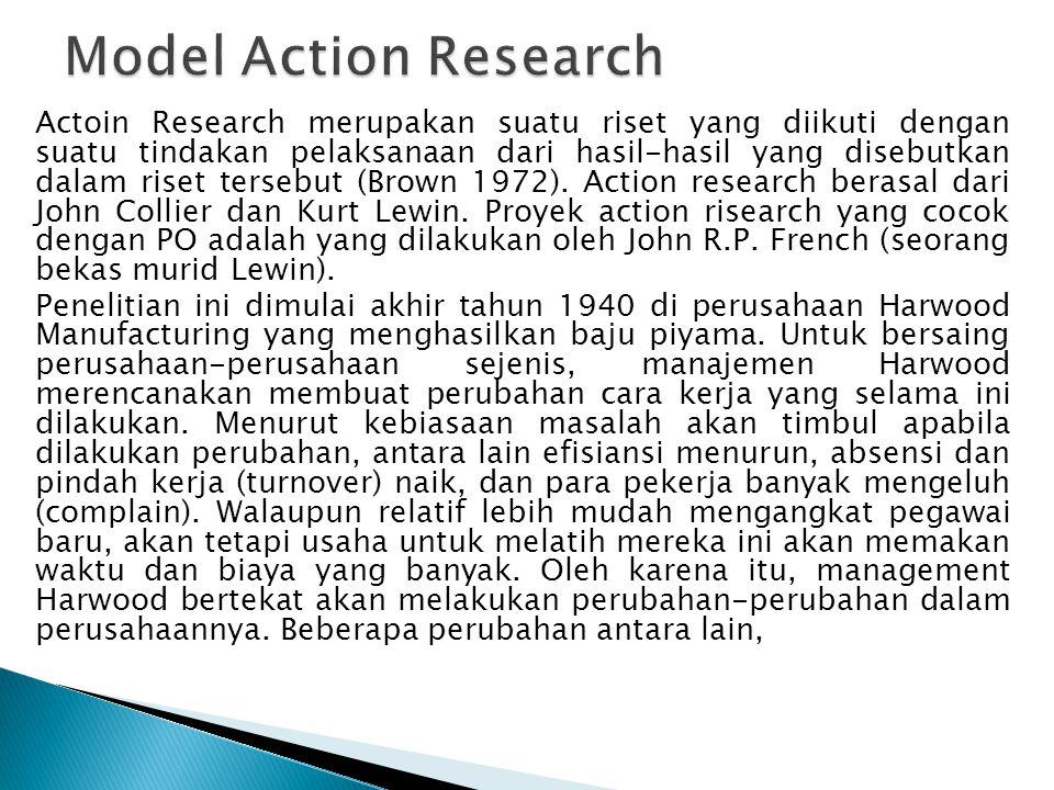 Actoin Research merupakan suatu riset yang diikuti dengan suatu tindakan pelaksanaan dari hasil-hasil yang disebutkan dalam riset tersebut (Brown 1972).