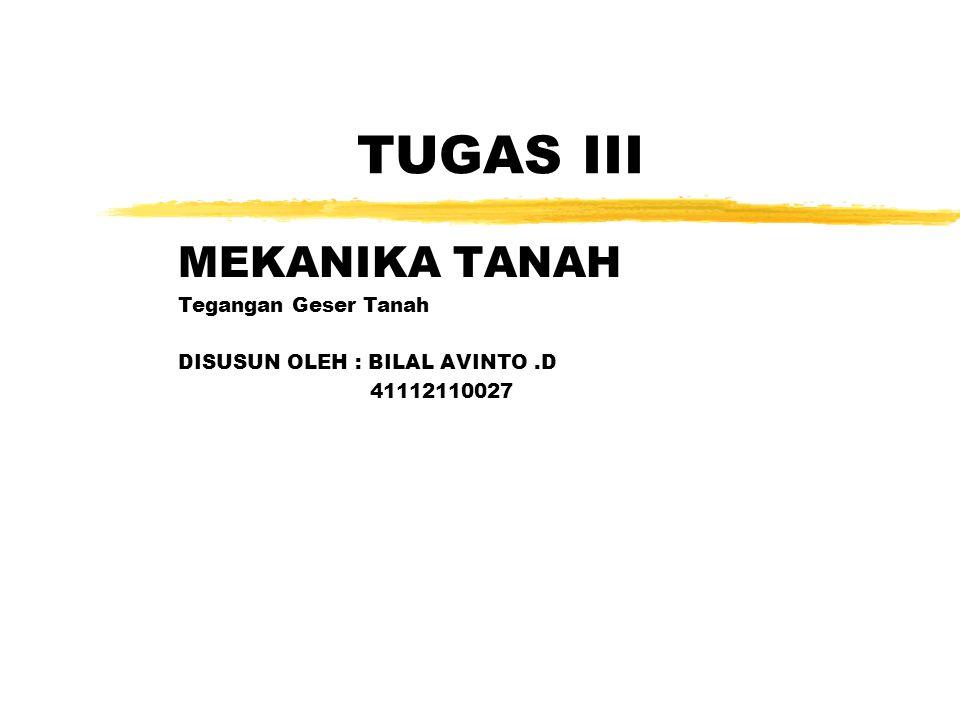 TUGAS III MEKANIKA TANAH Tegangan Geser Tanah DISUSUN OLEH : BILAL AVINTO.D 41112110027