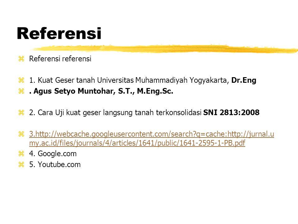 Referensi zReferensi referensi z1. Kuat Geser tanah Universitas Muhammadiyah Yogyakarta, Dr.Eng z. Agus Setyo Muntohar, S.T., M.Eng.Sc. z2. Cara Uji k