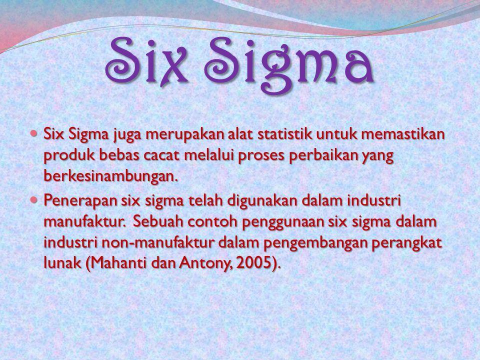 Six Sigma Six Sigma juga merupakan alat statistik untuk memastikan produk bebas cacat melalui proses perbaikan yang berkesinambungan. Six Sigma juga m