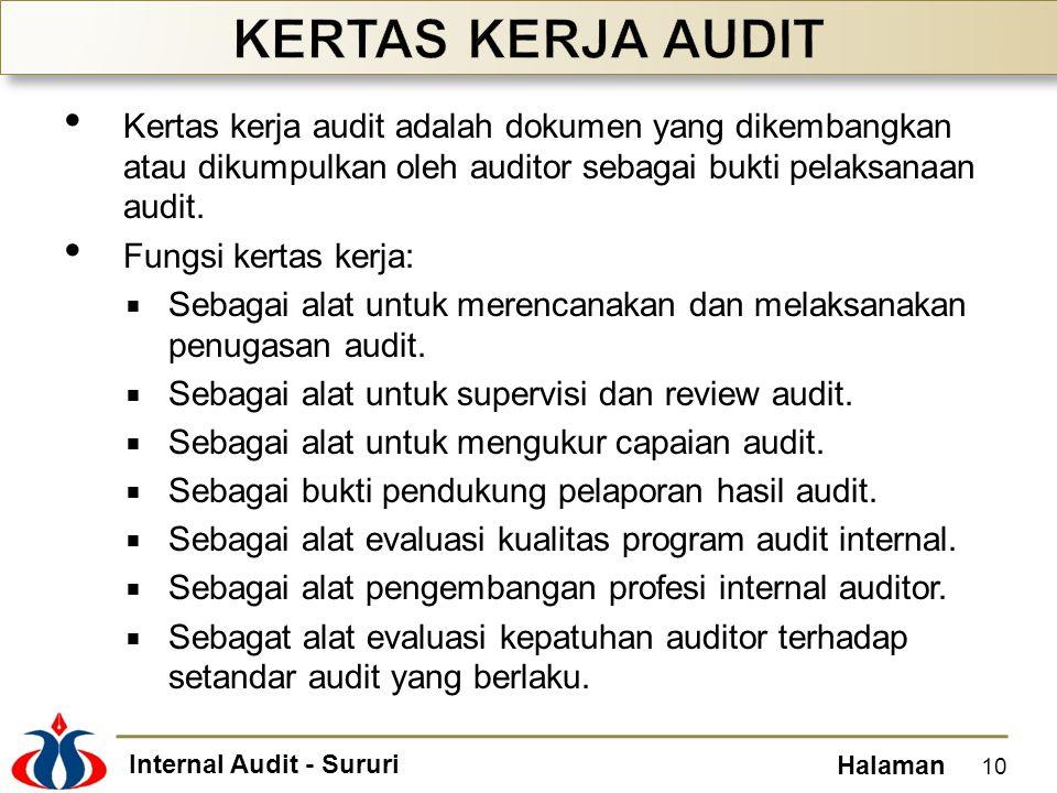 Internal Audit - Sururi Halaman Kertas kerja audit adalah dokumen yang dikembangkan atau dikumpulkan oleh auditor sebagai bukti pelaksanaan audit.