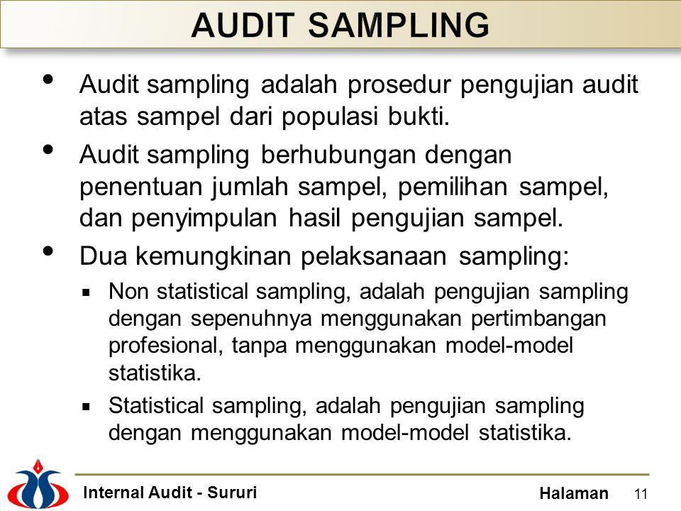 Internal Audit - Sururi Halaman Audit sampling adalah prosedur pengujian audit atas sampel dari populasi bukti. Audit sampling berhubungan dengan pene