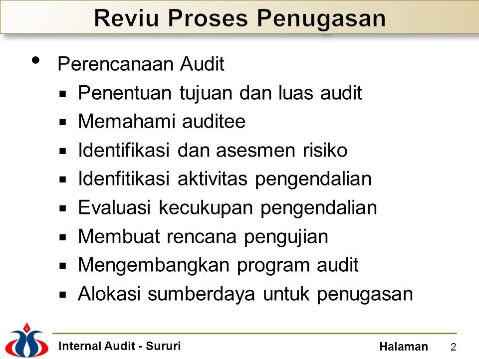 Internal Audit - Sururi Halaman Perencanaan Audit  Penentuan tujuan dan luas audit  Memahami auditee  Identifikasi dan asesmen risiko  Idenfitikasi aktivitas pengendalian  Evaluasi kecukupan pengendalian  Membuat rencana pengujian  Mengembangkan program audit  Alokasi sumberdaya untuk penugasan 2