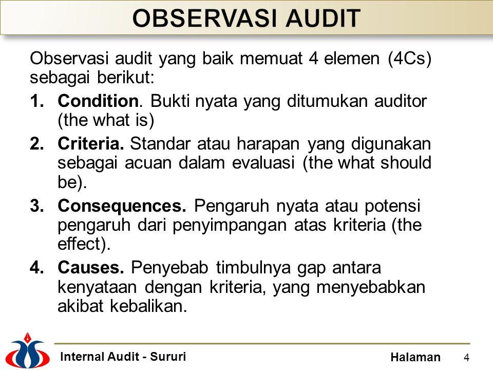 Internal Audit - Sururi Halaman Observasi audit yang baik memuat 4 elemen (4Cs) sebagai berikut: 1.Condition. Bukti nyata yang ditumukan auditor (the