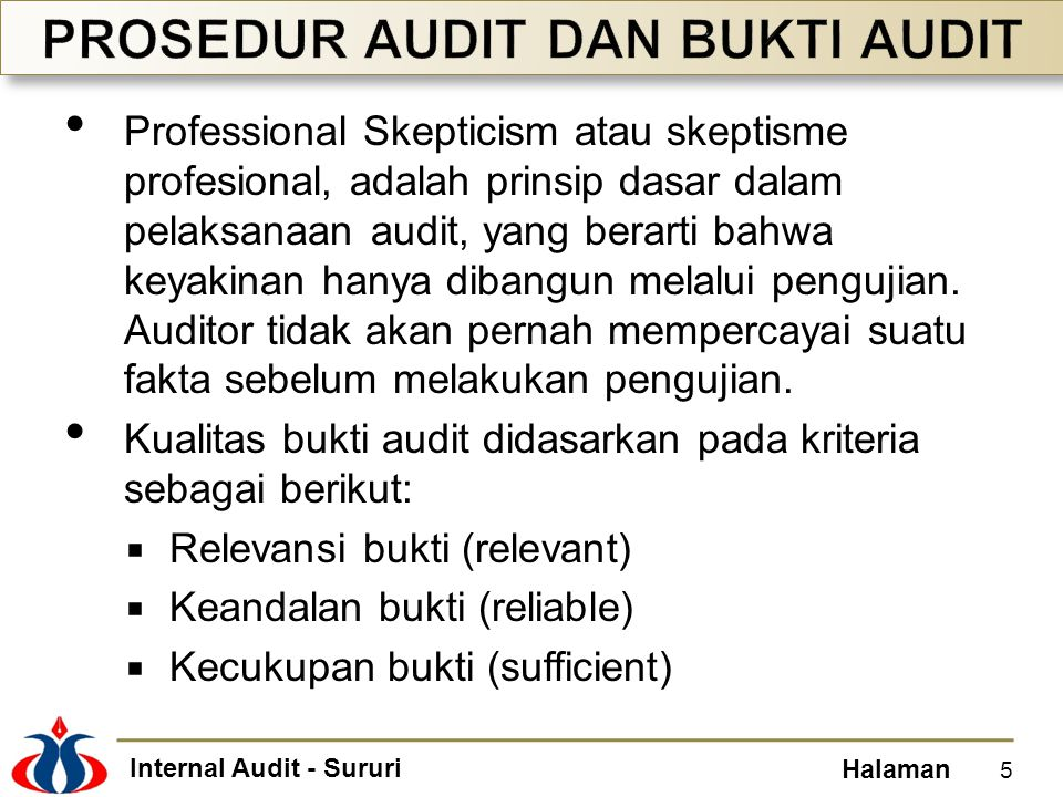 Internal Audit - Sururi Halaman Keandalan tinggi.
