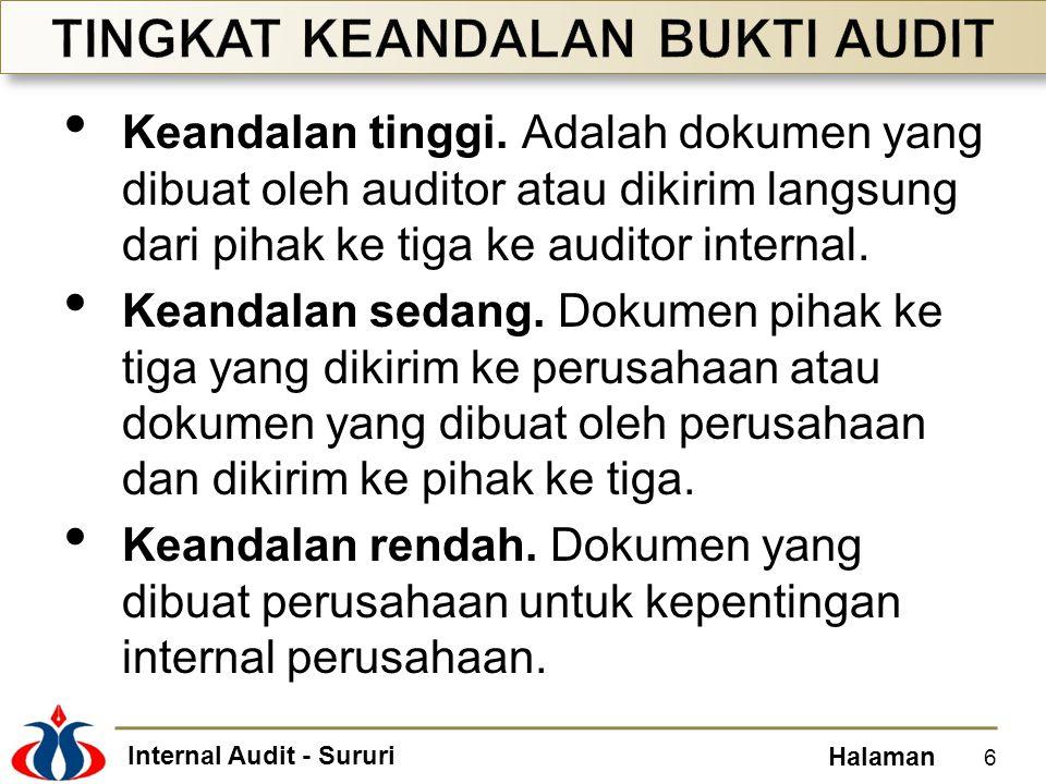 Internal Audit - Sururi Halaman Keandalan tinggi. Adalah dokumen yang dibuat oleh auditor atau dikirim langsung dari pihak ke tiga ke auditor internal