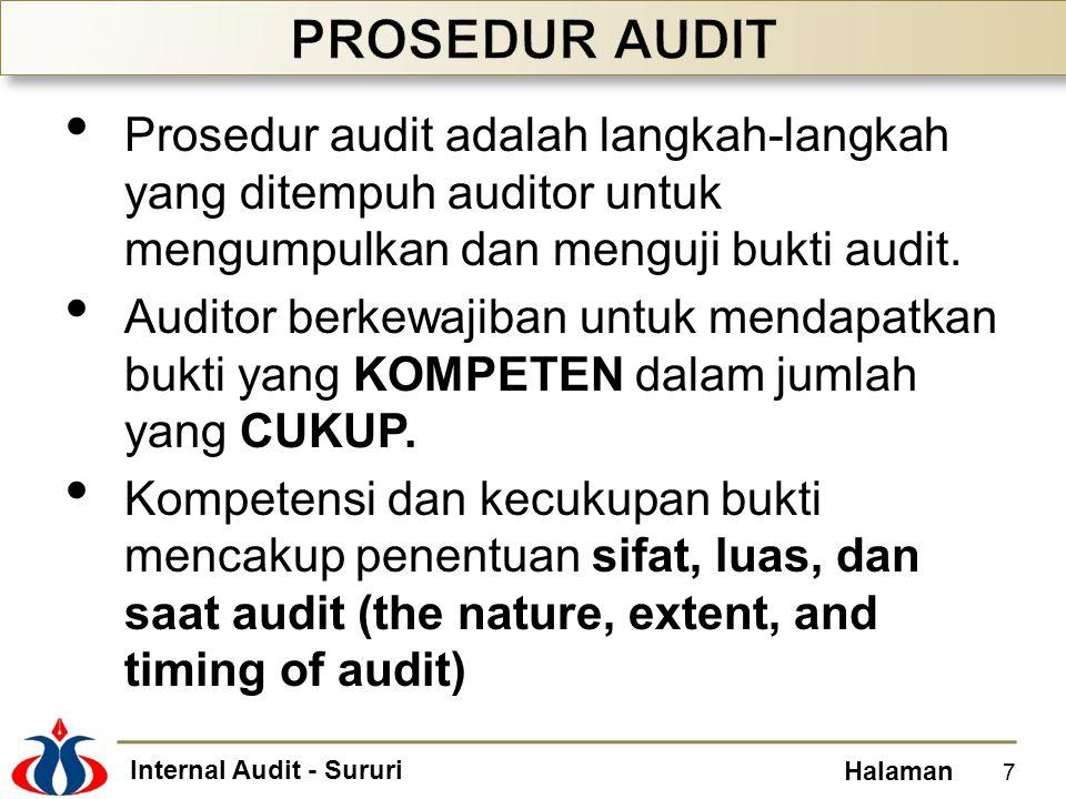 Internal Audit - Sururi Halaman Prosedur audit adalah langkah-langkah yang ditempuh auditor untuk mengumpulkan dan menguji bukti audit. Auditor berkew