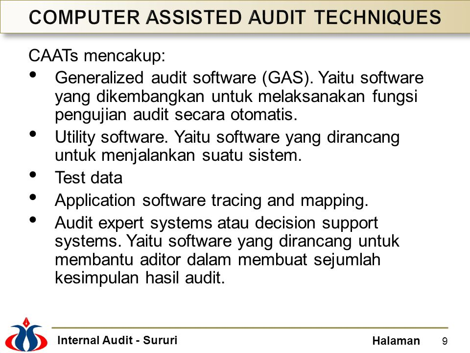 Internal Audit - Sururi Halaman CAATs mencakup: Generalized audit software (GAS). Yaitu software yang dikembangkan untuk melaksanakan fungsi pengujian
