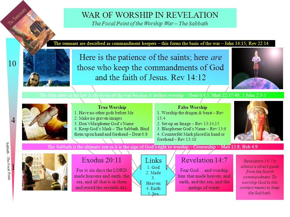 WAR OF WORSHIP IN REVELATION The Focal Point of the Worship War – The Sabbath The remnant are described as commandment keepers – this forms the basis of the war – John 14:15; Rev 22:14 The first table of the law is the focus of the war because it defines worship – Deut 6:4,5; Matt 22:37-40; 1 John 2:3-5 The Sabbath is the ultimate test as it is the sign of God's right to worship – Creatorship – Matt 12:8; Heb 4:9 True Worship 1.