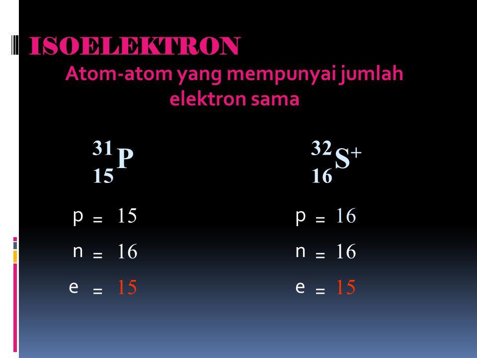 ISOELEKTRON Atom-atom yang mempunyai jumlah elektron sama P 31 15 S+S+ 32 16 p p = = 1516 nn = = 1616 e e = = 1515