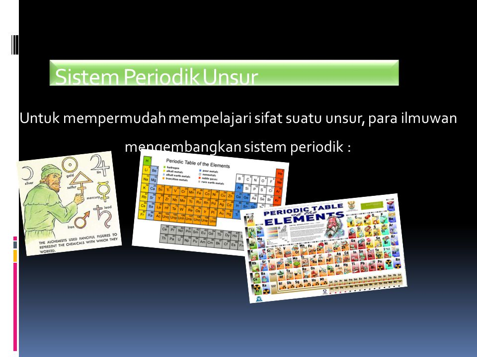 Sistem Periodik Unsur Untuk mempermudah mempelajari sifat suatu unsur, para ilmuwan mengembangkan sistem periodik :