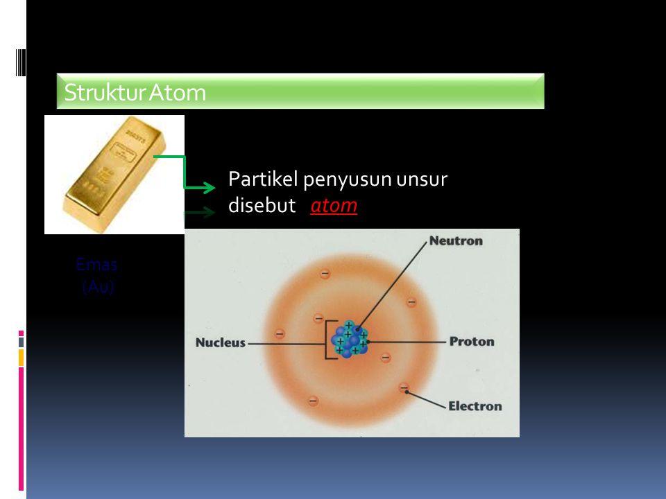 Notasi Atom Jumlah proton, elektron, dan neutron dapat ditentukan dengan cara : X A Z Nomor Massa Nomor Atom Menunjukkan jumlah proton dan juga jumlah elektron Jumlah neutron diperoleh dengan : A - Z Lambang Unsur
