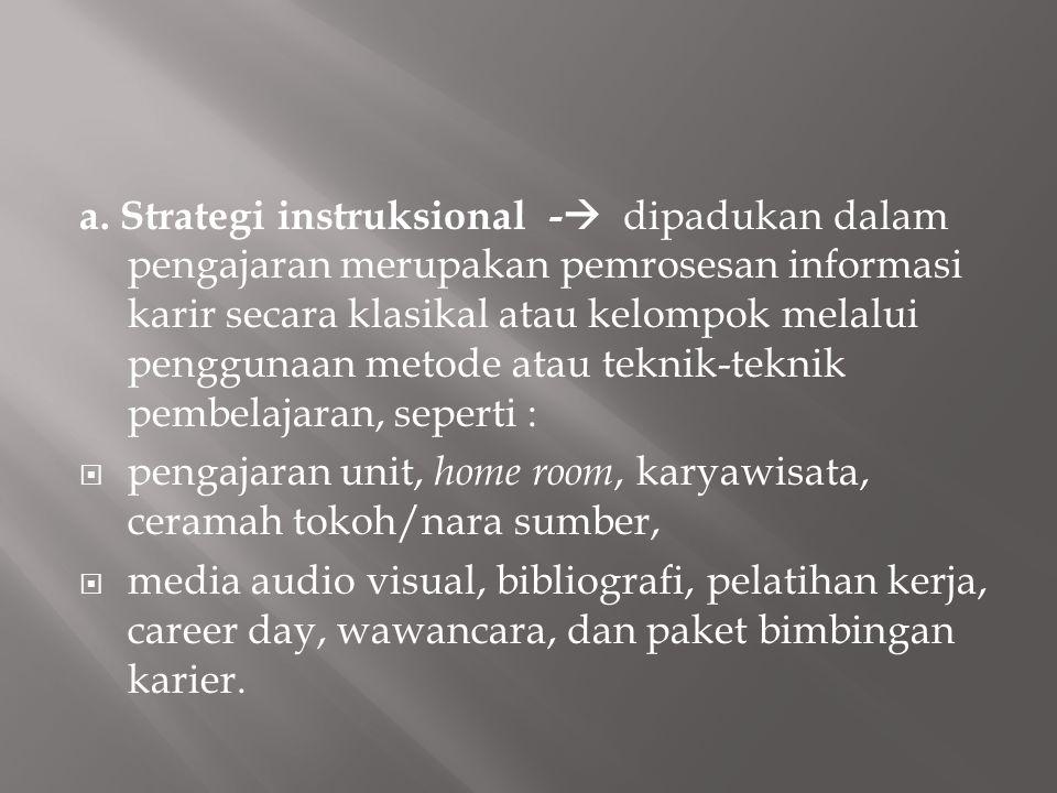 a. Strategi instruksional -  dipadukan dalam pengajaran merupakan pemrosesan informasi karir secara klasikal atau kelompok melalui penggunaan metode