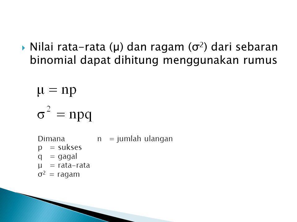  Nilai rata-rata (µ) dan ragam (σ 2 ) dari sebaran binomial dapat dihitung menggunakan rumus Dimana n = jumlah ulangan p = sukses q = gagal μ = rata-