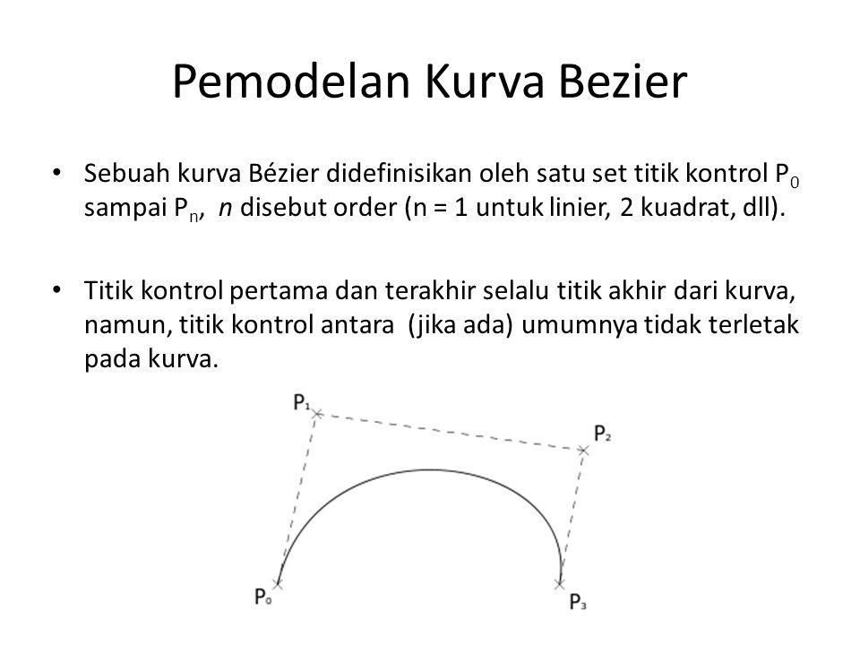 Pemodelan Kurva Bezier Sebuah kurva Bézier didefinisikan oleh satu set titik kontrol P 0 sampai P n, n disebut order (n = 1 untuk linier, 2 kuadrat, dll).