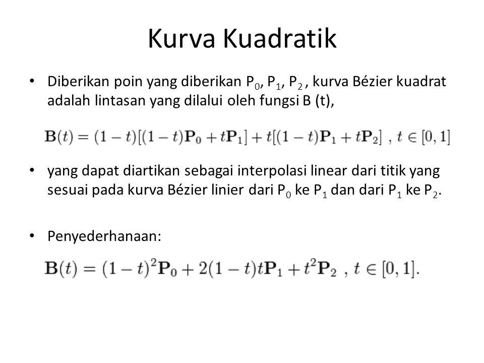 Kurva Kuadratik Diberikan poin yang diberikan P 0, P 1, P 2, kurva Bézier kuadrat adalah lintasan yang dilalui oleh fungsi B (t), yang dapat diartikan sebagai interpolasi linear dari titik yang sesuai pada kurva Bézier linier dari P 0 ke P 1 dan dari P 1 ke P 2.