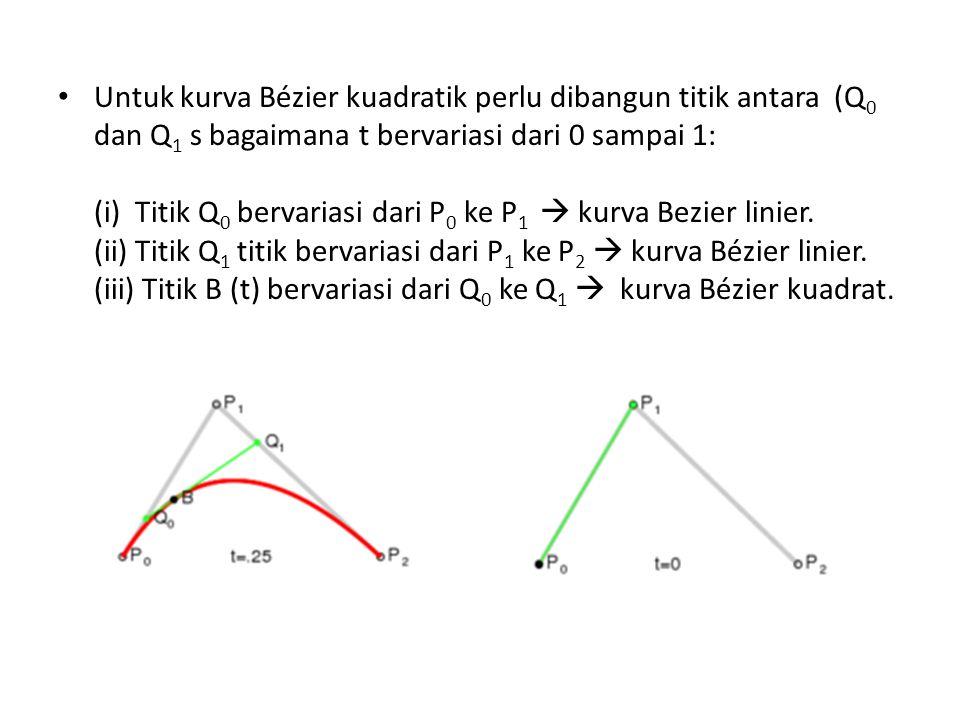 Untuk kurva Bézier kuadratik perlu dibangun titik antara (Q 0 dan Q 1 s bagaimana t bervariasi dari 0 sampai 1: (i) Titik Q 0 bervariasi dari P 0 ke P 1  kurva Bezier linier.