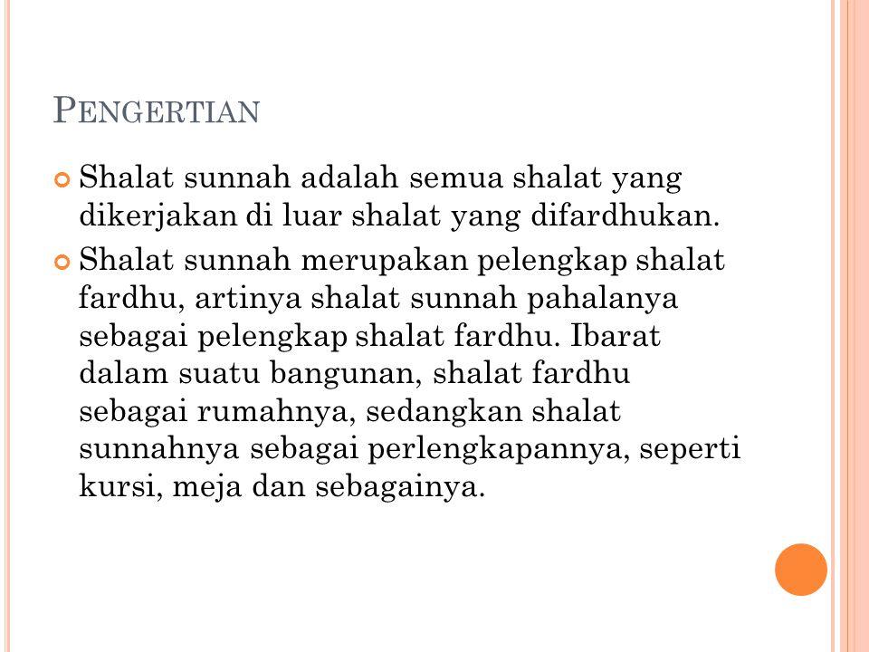 P ENGERTIAN Shalat sunnah adalah semua shalat yang dikerjakan di luar shalat yang difardhukan. Shalat sunnah merupakan pelengkap shalat fardhu, artiny