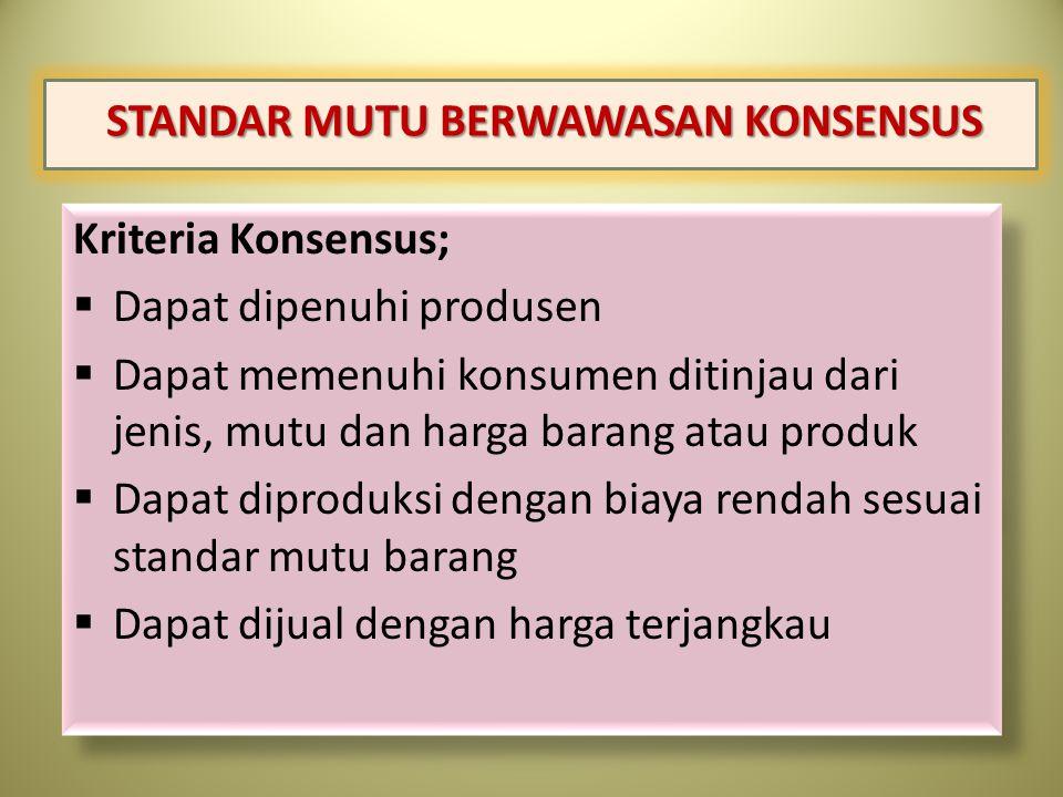 STANDAR MUTU BERWAWASAN KONSENSUS Kriteria Konsensus;  Dapat dipenuhi produsen  Dapat memenuhi konsumen ditinjau dari jenis, mutu dan harga barang a