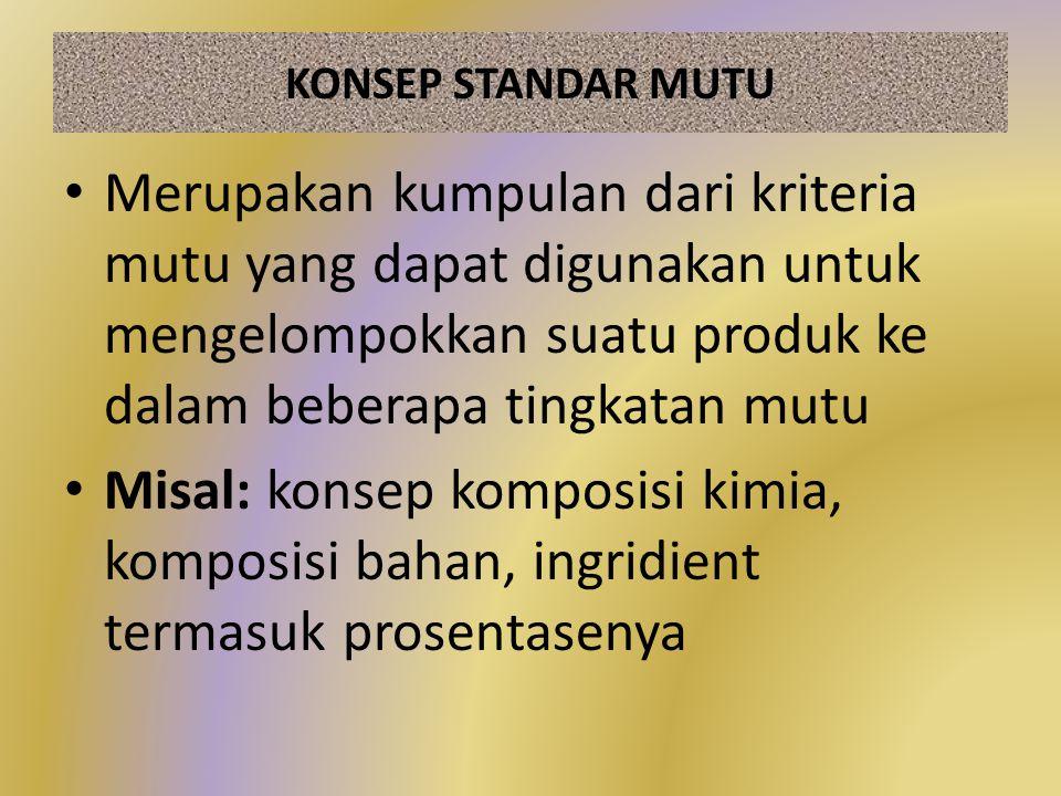 KONSEP STANDAR MUTU Merupakan kumpulan dari kriteria mutu yang dapat digunakan untuk mengelompokkan suatu produk ke dalam beberapa tingkatan mutu Misa