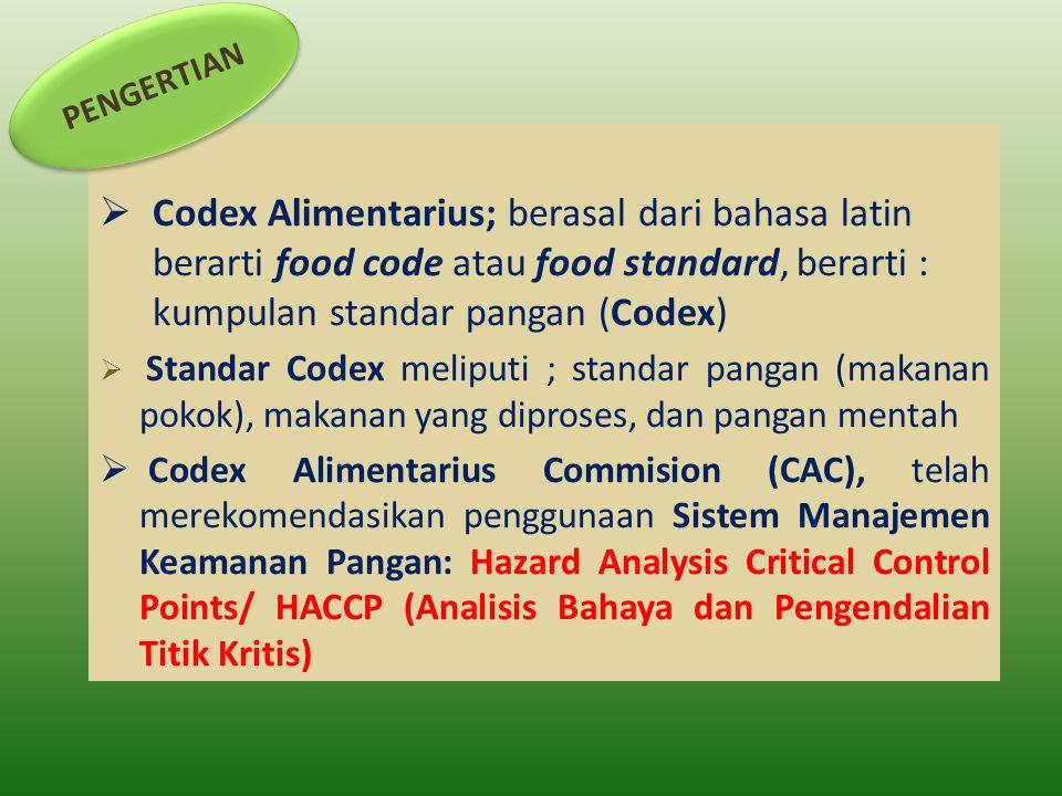  Codex Alimentarius; berasal dari bahasa latin berarti food code atau food standard, berarti : kumpulan standar pangan (Codex)  Standar Codex melipu