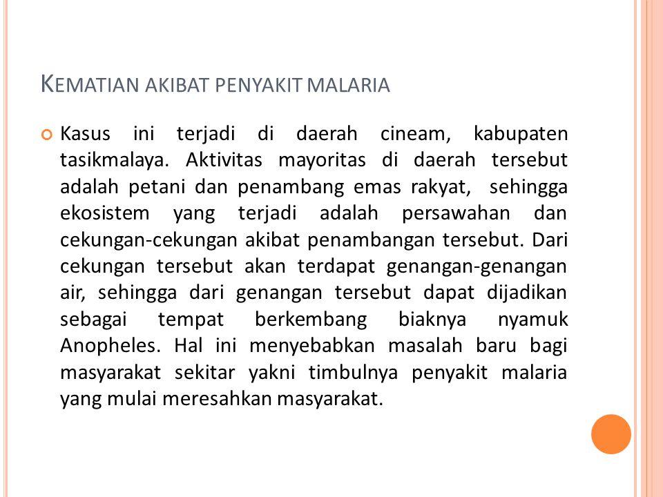 K EMATIAN AKIBAT PENYAKIT MALARIA Kasus ini terjadi di daerah cineam, kabupaten tasikmalaya.