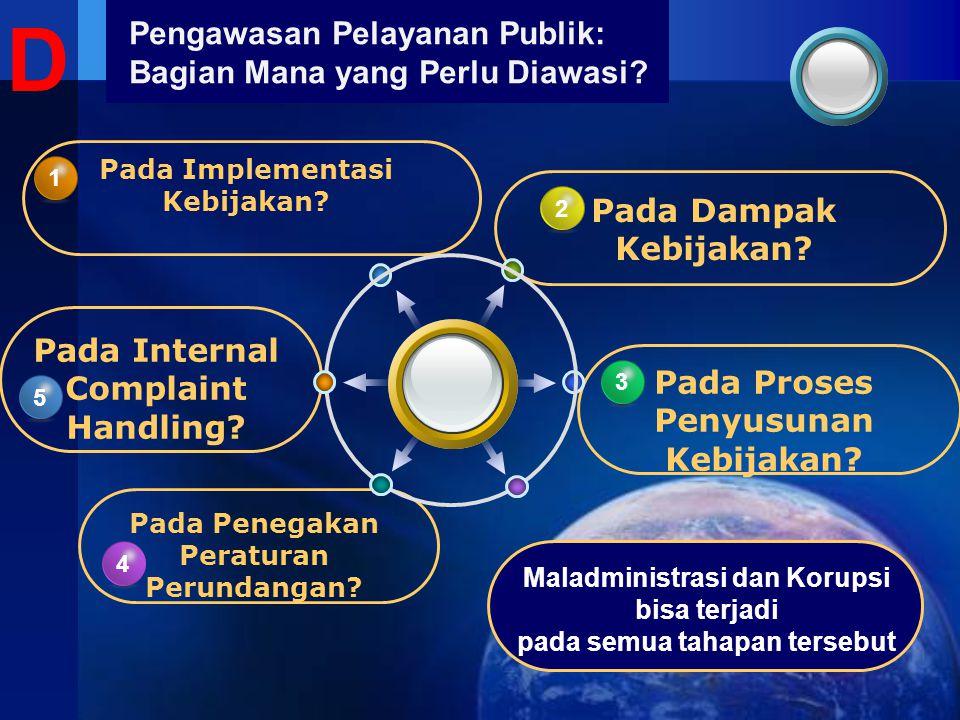 Pengawasan Pelayanan Publik: Bagian Mana yang Perlu Diawasi? Pada Penegakan Peraturan Perundangan? 4 4 Pada Internal Complaint Handling? 5 Pada Implem