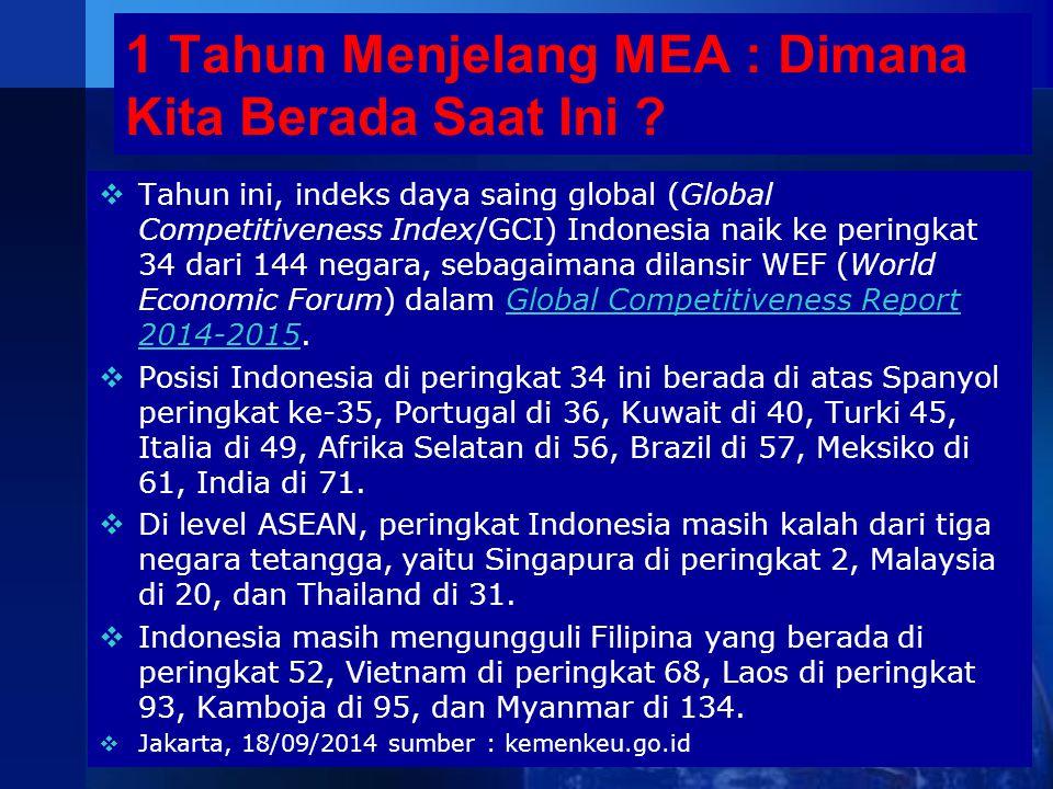 1 Tahun Menjelang MEA : Dimana Kita Berada Saat Ini ?  Tahun ini, indeks daya saing global (Global Competitiveness Index/GCI) Indonesia naik ke perin