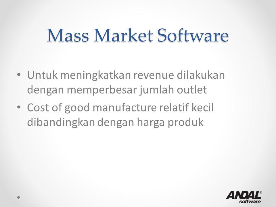 Mass Market Software Untuk meningkatkan revenue dilakukan dengan memperbesar jumlah outlet Cost of good manufacture relatif kecil dibandingkan dengan