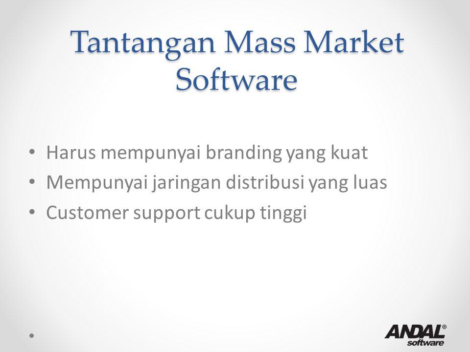 Tantangan Mass Market Software Harus mempunyai branding yang kuat Mempunyai jaringan distribusi yang luas Customer support cukup tinggi