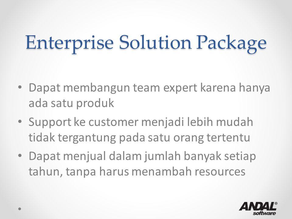 Enterprise Solution Package Dapat membangun team expert karena hanya ada satu produk Support ke customer menjadi lebih mudah tidak tergantung pada sat