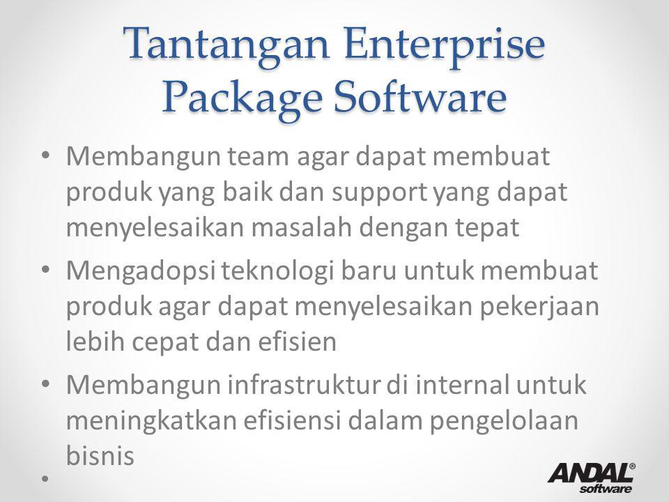 Tantangan Enterprise Package Software Membangun team agar dapat membuat produk yang baik dan support yang dapat menyelesaikan masalah dengan tepat Men