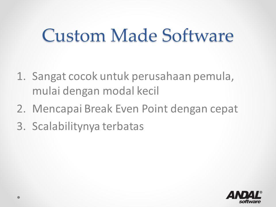Custom Made Software 1.Sangat cocok untuk perusahaan pemula, mulai dengan modal kecil 2.Mencapai Break Even Point dengan cepat 3.Scalabilitynya terbat