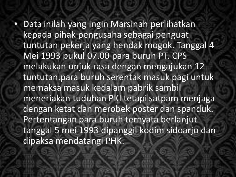 Data inilah yang ingin Marsinah perlihatkan kepada pihak pengusaha sebagai penguat tuntutan pekerja yang hendak mogok. Tanggal 4 Mei 1993 pukul 07.00