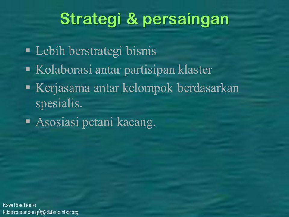 Kawi Boedisetio telebiro.bandung0@clubmember.org Strategi & persaingan  Lebih berstrategi bisnis  Kolaborasi antar partisipan klaster  Kerjasama antar kelompok berdasarkan spesialis.