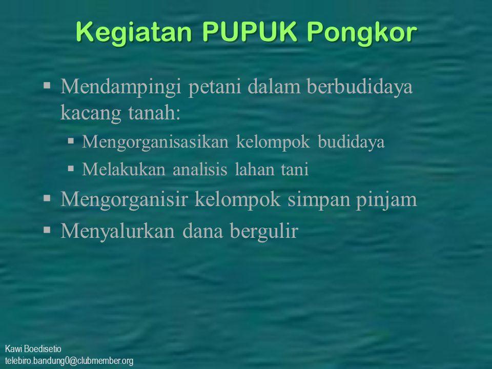Kawi Boedisetio telebiro.bandung0@clubmember.org Kegiatan PUPUK Pongkor  Mendampingi petani dalam berbudidaya kacang tanah:  Mengorganisasikan kelom