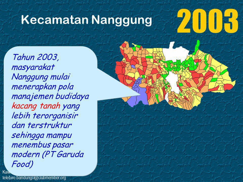 Kawi Boedisetio telebiro.bandung0@clubmember.org Kecamatan Nanggung Tahun 2004, masyarakat petani kacang tanah melakukan prakarsa penangkaran di Nanggung dan penanaman kacang Biji Tiga (BIGA) di desa Cigudeg dan merupakan satu- satunya sentra yang berhasil.