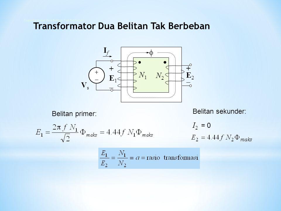 +E2+E2 N2N2 N1N1 IfIf  VsVs +E1+E1 +  Belitan primer: Belitan sekunder: I 2 = 0 Transformator Dua Belitan Tak Berbeban