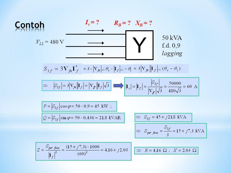 Y 50 kVA f.d. 0,9 lagging V LL = 480 V I s = ? R B = ? X B = ?