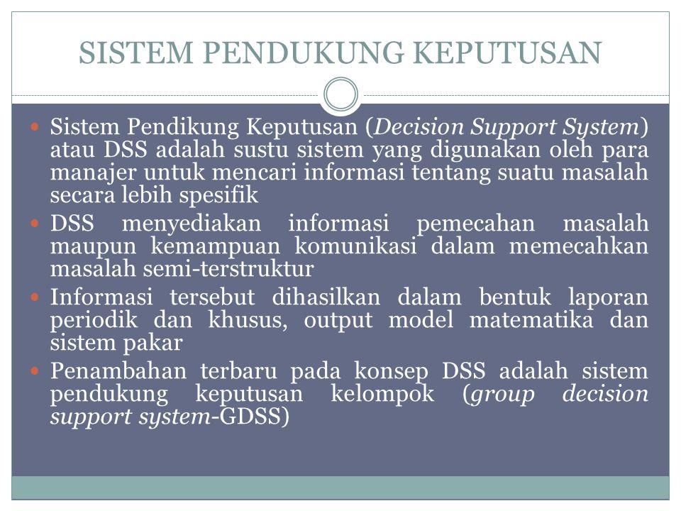 SISTEM PENDUKUNG KEPUTUSAN Sistem Pendikung Keputusan (Decision Support System) atau DSS adalah sustu sistem yang digunakan oleh para manajer untuk mencari informasi tentang suatu masalah secara lebih spesifik DSS menyediakan informasi pemecahan masalah maupun kemampuan komunikasi dalam memecahkan masalah semi-terstruktur Informasi tersebut dihasilkan dalam bentuk laporan periodik dan khusus, output model matematika dan sistem pakar Penambahan terbaru pada konsep DSS adalah sistem pendukung keputusan kelompok (group decision support system-GDSS)