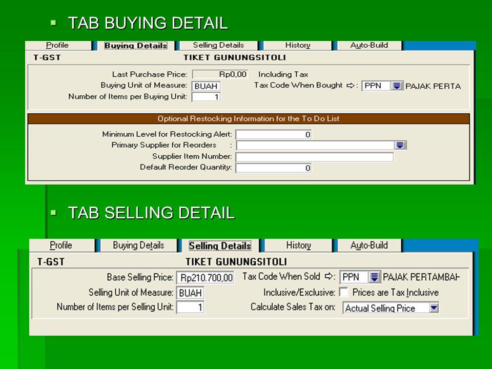 13. Membuat data-data persediaan tiket  Caranya :  Aktifkan modul inventory  Klik item list  Klik new  TAB PROFILE