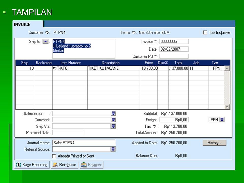 3. PENJUALAN BARANG DAGANG  Caranya :  Aktifkan Modul Sales  Enter Sales  Layoutnya Item  ORDER > INVOICE  Hilangkan Tax Inclusive  Customer> T