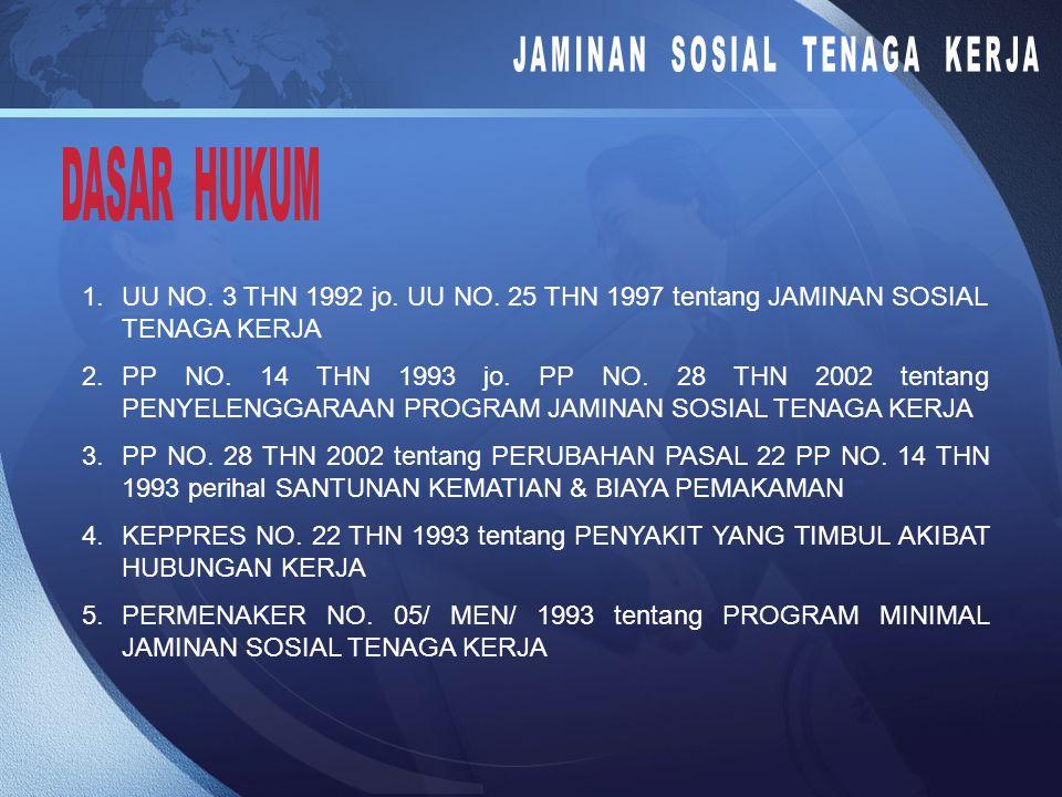 1.UU NO.3 THN 1992 jo. UU NO. 25 THN 1997 tentang JAMINAN SOSIAL TENAGA KERJA 2.PP NO.
