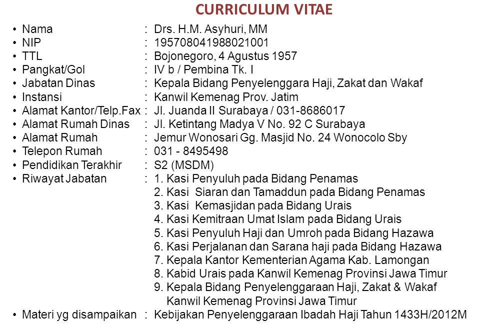 CURRICULUM VITAE Nama:Drs. H.M. Asyhuri, MM NIP:195708041988021001 TTL:Bojonegoro, 4 Agustus 1957 Pangkat/Gol:IV b / Pembina Tk. I Jabatan Dinas:Kepal