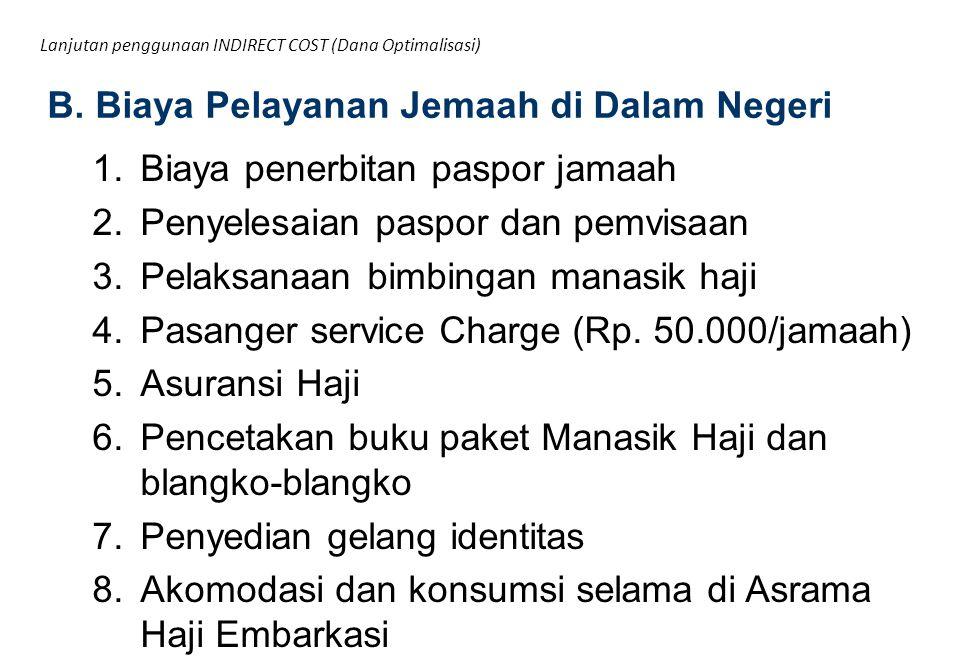 1.Biaya penerbitan paspor jamaah 2.Penyelesaian paspor dan pemvisaan 3.Pelaksanaan bimbingan manasik haji 4.Pasanger service Charge (Rp. 50.000/jamaah