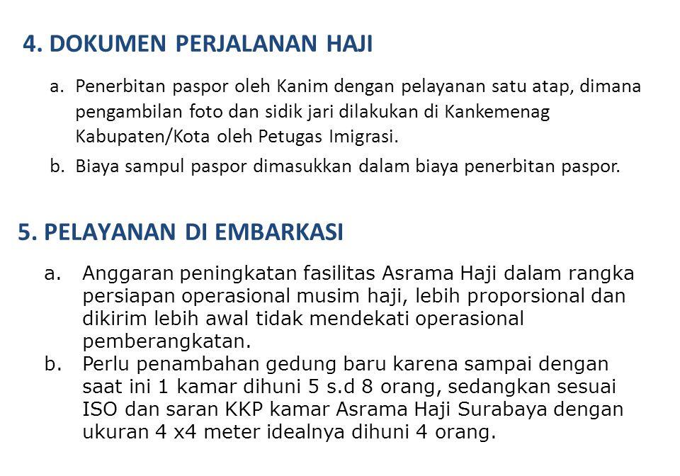 a.Penerbitan paspor oleh Kanim dengan pelayanan satu atap, dimana pengambilan foto dan sidik jari dilakukan di Kankemenag Kabupaten/Kota oleh Petugas