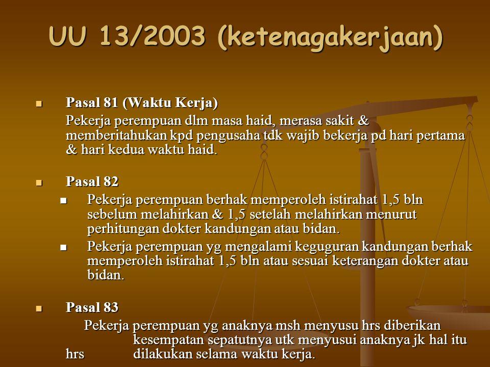 UU 13/2003 (ketenagakerjaan) Pasal 84 Pasal 84 Pekerja yg menggunakan hak waktu istirahat berhak mendapat upah penuh.