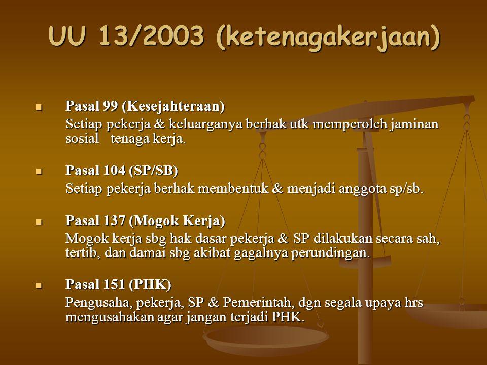 UU 13/2003 (ketenagakerjaan) Pasal 99 (Kesejahteraan) Pasal 99 (Kesejahteraan) Setiap pekerja & keluarganya berhak utk memperoleh jaminan sosial tenag