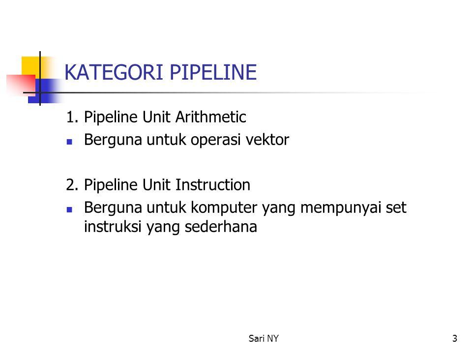 Sari NY3 KATEGORI PIPELINE 1. Pipeline Unit Arithmetic Berguna untuk operasi vektor 2. Pipeline Unit Instruction Berguna untuk komputer yang mempunyai
